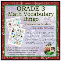 Math Vocabulary Bingo Game Grade 3