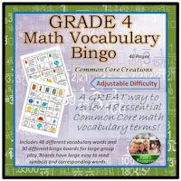 Math Vocabulary Bingo Game Grade 4