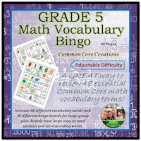 Math Vocabulary Bingo Game Grade 5