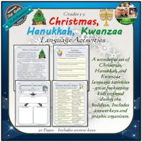 Christmas, Hanukkah, Kwanzaa Language Activities