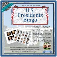 U.S. History U.S. Presidents Bingo Game