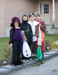 Modern Halloween customs focus on kids dressing in colorful costumes and going trick-or-treating.